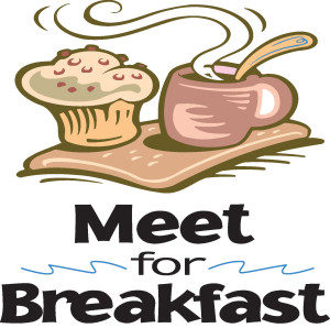 Meet for Breakfast text beneath a muffin and coffee
